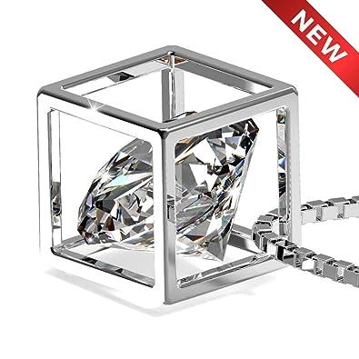 Luxray® Collar Mujer Plata de Ley 925 Joyas para Mujer, Regalos Originales, Colgantes Mujer, Regalos para Mujer, Collar diamante, Cadena 45cm+5cm