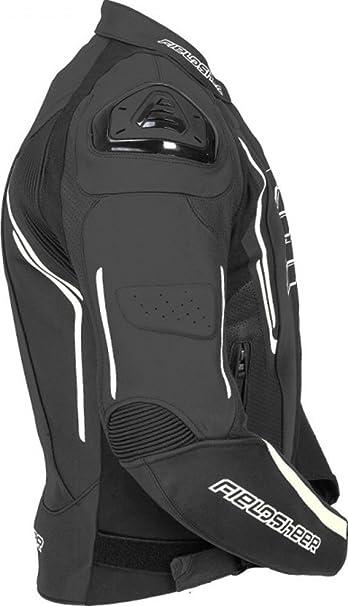 Fieldsheer Monaco Mens Leather Street Racing Motorcycle Jacket 50 Black//White FSJ17M02-50-WHT