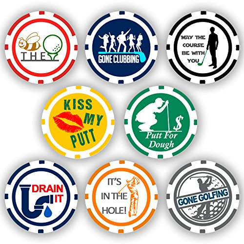Collection Golf (Da Vinci Golf Ball Marker Poker Chips Collection, 11.5 gram Chips (8-Pack))