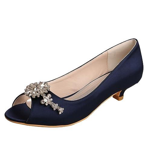 28777cbbe2b Wedopus MW625 Women Peep Toe Low Heel Rhinestone Satin Comfortable Wedding  Prom Shoes