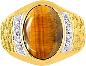 RYLOS Nugget Anillo con forma ovalada de cabujón y diamantes brillantes auténticos en plata chapada en oro amarillo de 14 quilates .925
