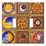 Celestials Theme Metal Wall Plate - Double Gang Toggle