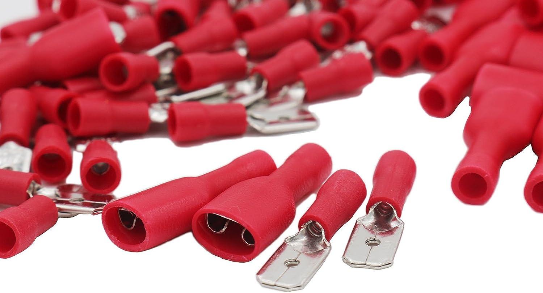 Grapelet 50 x hembra y 50 x macho 100 terminales de crimpado aislados para cables el/éctricos y de audio color rojo