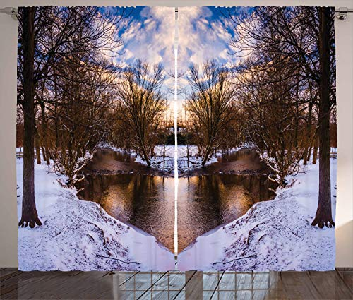 Ambesonne Landscape Home Decor, Snowy Winter Park Trees Heart Shape Lake River Sunset View Picture Art, Bedroom Living Room Curtain 2 Panels Set, 108 X 84 Inches, Blue White Brown