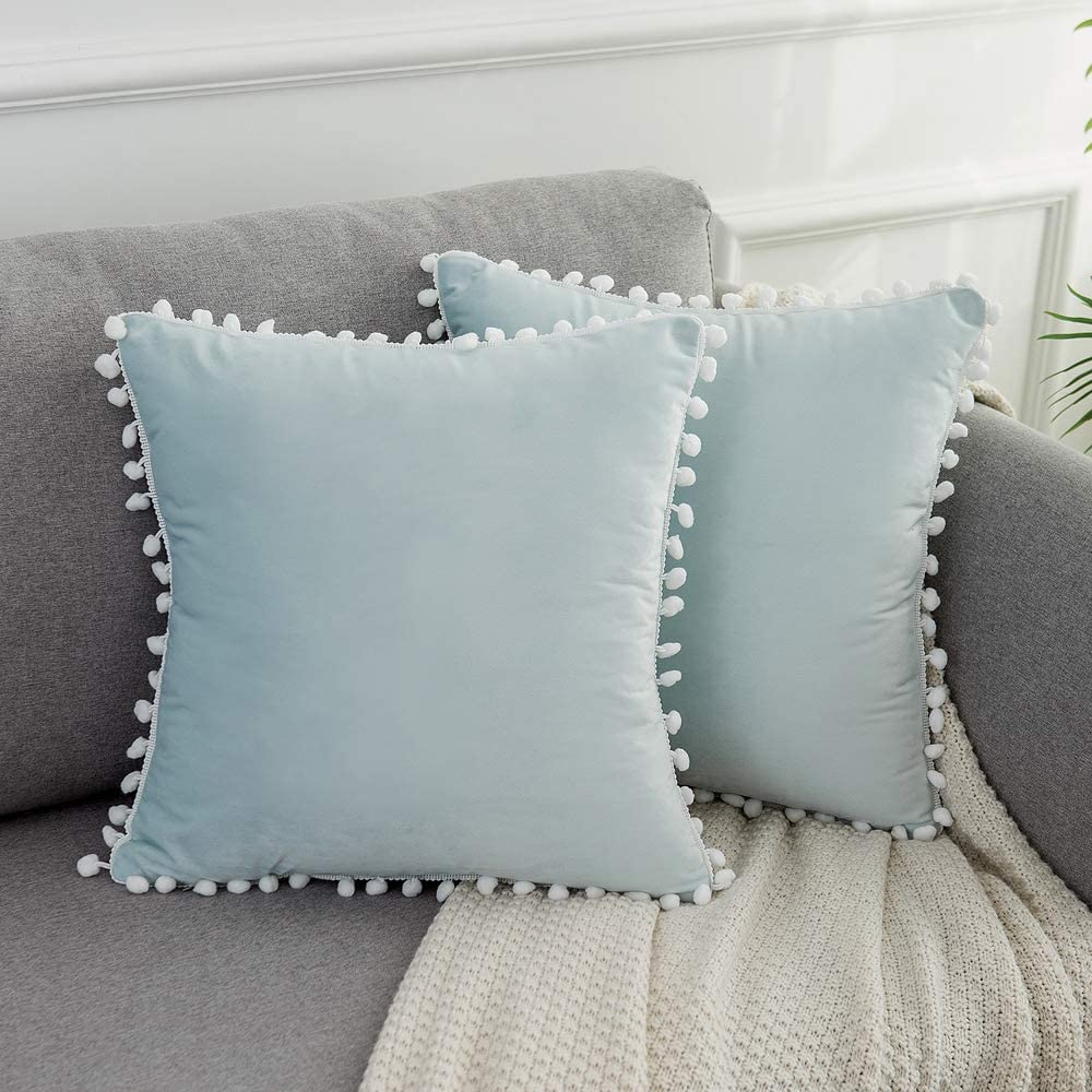 WLNUI Set of 2 Soft Velvet Light Blue Pillow Covers 18x18 Inch Square Decorative Cute Pom Poms Throw Pillow Covers Cushion Case for Sofa Couch Home Farmhouse Decor