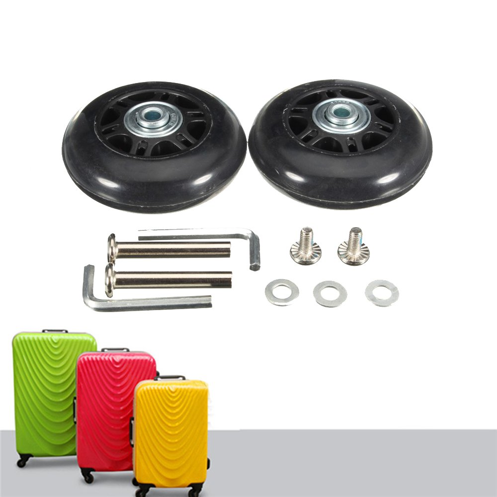 68X24mm Black Luggage Suitcase / Inline Outdoor Skate Replacement Wheels with ABEC 608zz Bearings