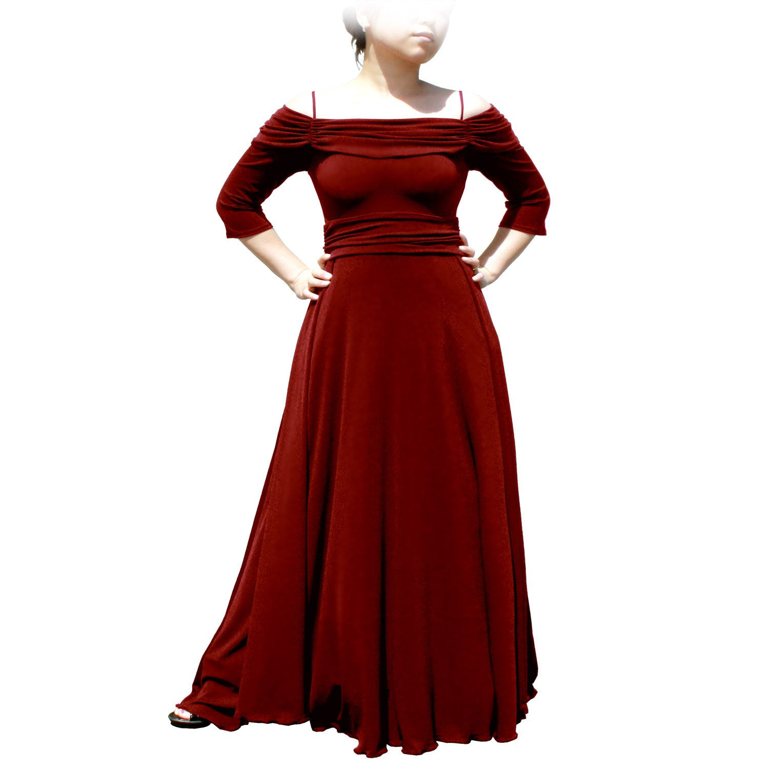 EVANESE Women's Plus Size Formal Long Evening Dress 3/4 Sleeves and Side Flare D86672