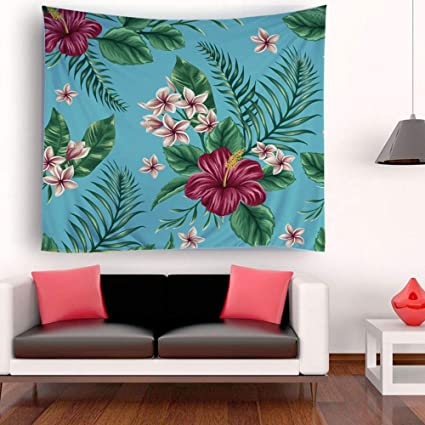 Amazing Enjohos Floral Tapestry For Bedroom Living Room Red Flower And Green Leaves Natural Plant Wall Hanging Botanical Home Decor Wall Art Gmtry Best Dining Table And Chair Ideas Images Gmtryco