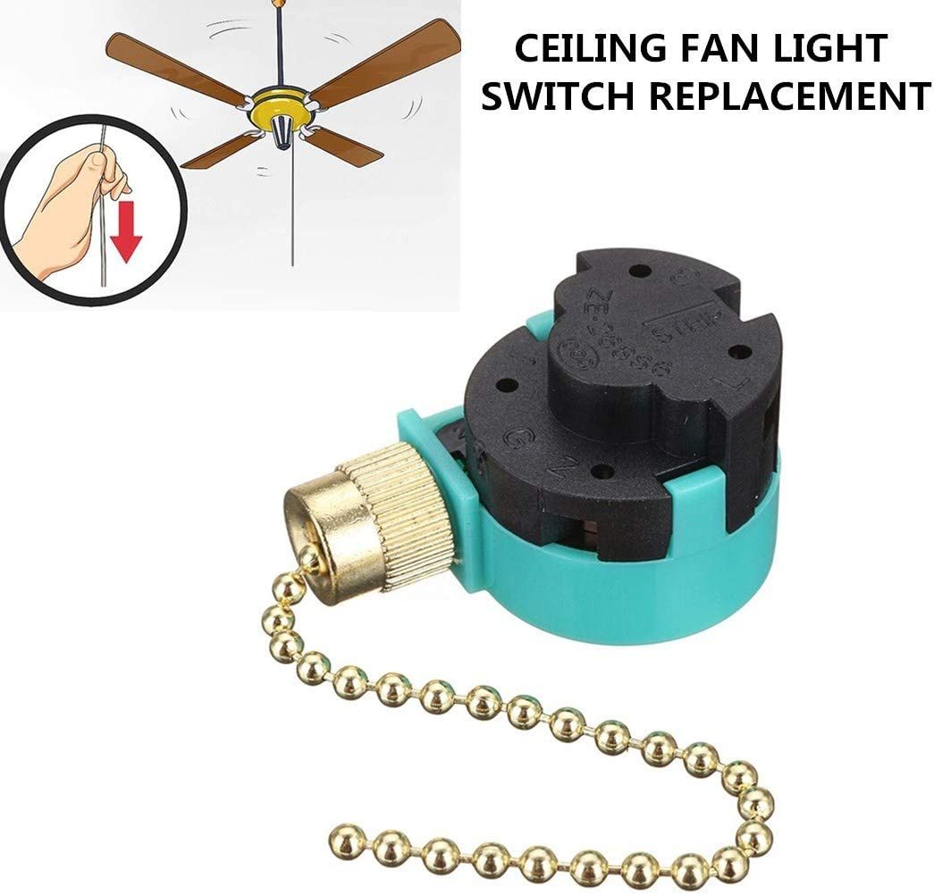 Ceiling Fans Switch Zing Ear ZE-268S6, 3 Speed 4 Wire Pull Chain Cord Appliances Switch Speed Control Replacement Parts Compatible with Hunter Ceiling Fans Wall Lamps (Brass Pull Chain)