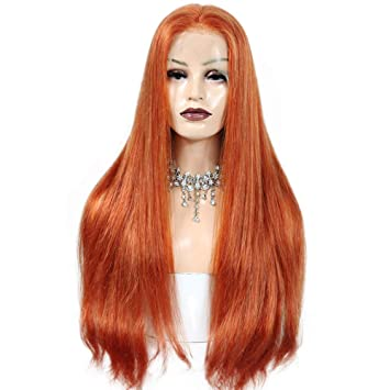 Fabwigs Human Hair Wig Full Lace Wig 150% Density Ginger Color  350 Silky  Straight b8e579471