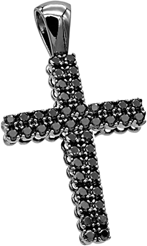 Amazon Com Men S 10k Gold Black Diamond Cross Pendant 1 5ctw By Luxurman Jewelry