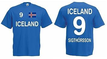 Fruit of the Loom Iceland WM 2018 Trikot Sigthorsson Fanshirt T-Shirt Iceland