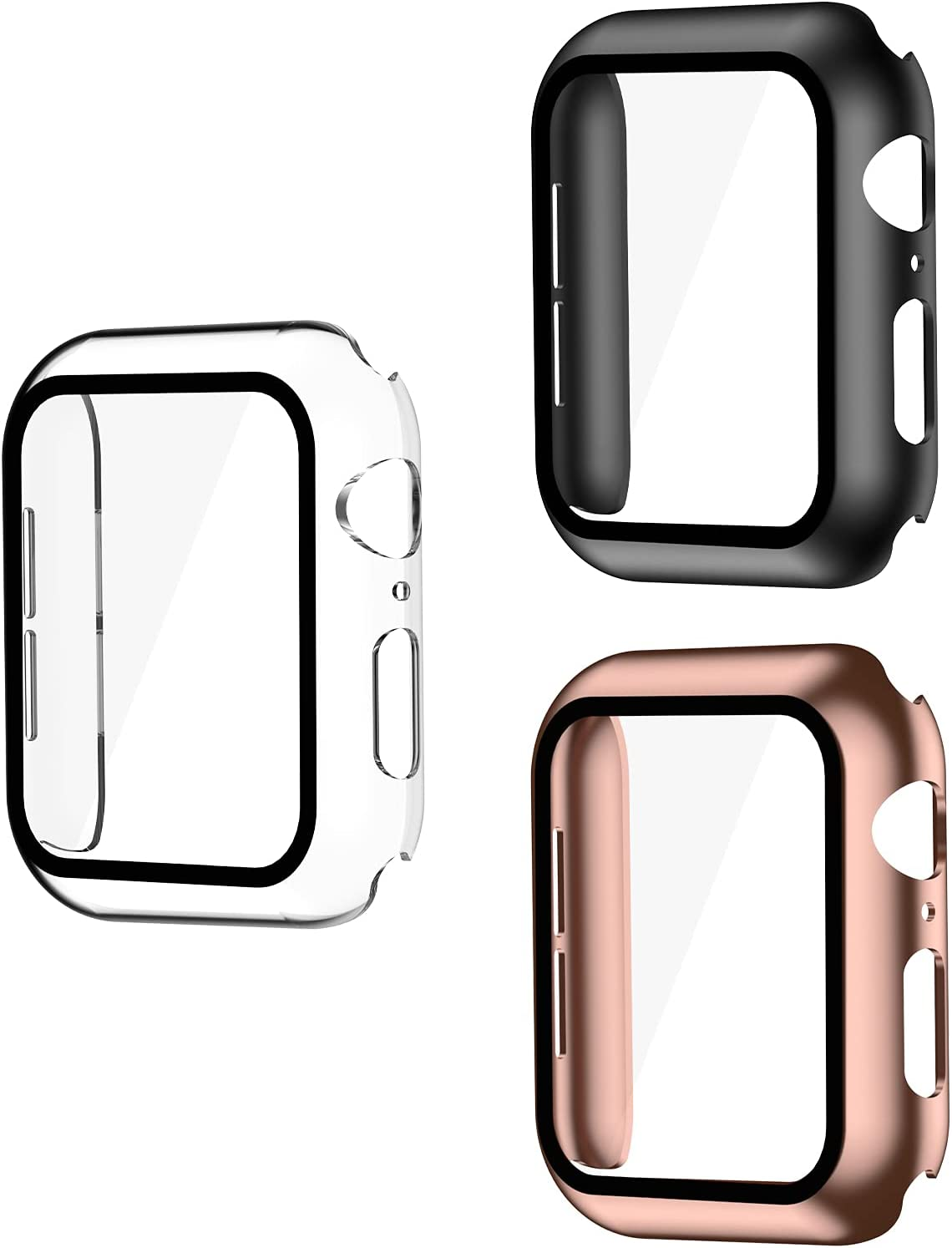 Smiling 3 Pack Case Compatible with Apple Watch Series 6/SE/Series 5/Series 4 44mm with Built in Tempered Glass Screen Protector- All Around Hard PC Case Overall Protective Cover(clear/black/rosegold)