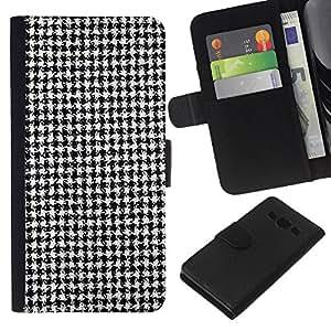 - FASHION FABRIC BLACK PATTERN CLASSICAL WHITE - - Prima caja de la PU billetera de cuero con ranuras para tarjetas, efectivo desmontable correa para l Funny House FOR Samsung Galaxy A3