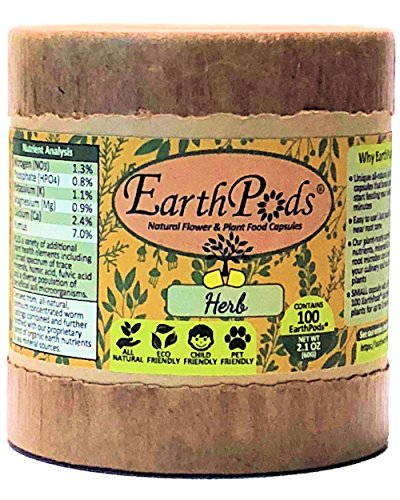 EarthPods Premium Herb & Vegetable Plant Food - Easy Organic Fertilizer Spikes - 100 Capsules - Stimulates Root & Leaf Growth (Great for Culinary + Medical Herb Garden, No Urea, Ecofriendly)