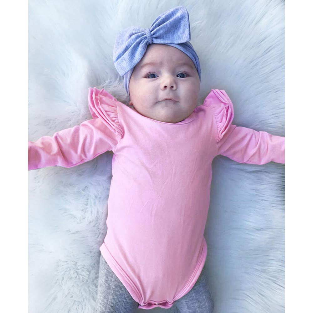 erthome Baby Body Baby Langarm Solide Romper R/üschen Jumpsuit Strampler Bodyuit