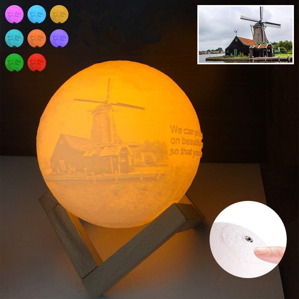 Lámpara de luna de imagen personalizada - Luna de noche impresa en 3D personalizada con soporte regulable Control táctil, Luz de noche Luces decorativas para niños de habitación Niños (20 cm)