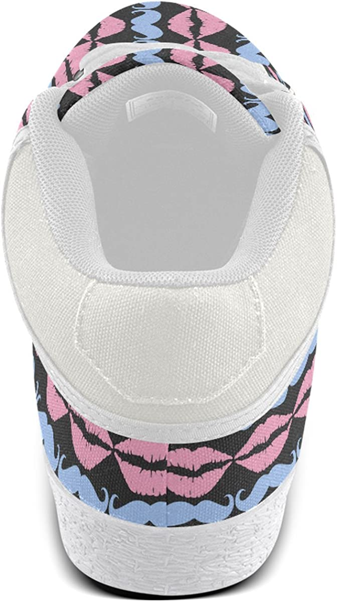Artsadd Girly Pink Hipster Mustache and Lips Chukka Canvas Shoes for Men Model003
