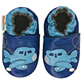 Momo Baby Infant/Toddler Airplane Blue Soft Sole Leather Shoes - 12-18 Months/4.5-5.5 M US Toddler