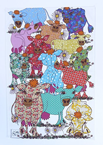 FLORAL COWS DISH CLOTH by MollyMac - Blooming Lovely Cows - Tea Towel - Pretty kitchen towel - Homeware - Wonderful Gift - Made in UK - 100% Cotton - 28