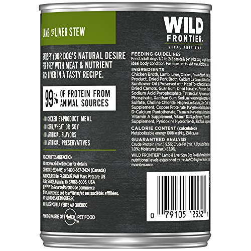 Picture of Nutro Wild Frontier Grain Free Adult Canned Wet Dog Food Chunks In Gravy Grass-Fed Prey Recipe Lamb Stew With Nutrient Rich Liver, (12) 12.5 Oz. Cans
