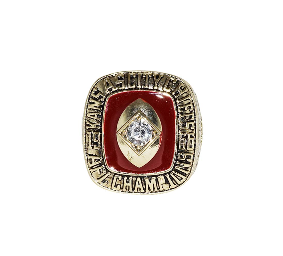 KANSAS CITY CHIEFS (Len Dawson) 1966 AFL WORLD CHAMPIONS (First AFL vs. NFL Super Bowl) Vintage Rare Collectible High Quality Replica NFL Football Gold Championship Ring with Cherrywood Display Box