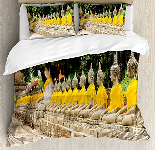 Asian Decor Queen Size Duvet Cover Set by Ambesonne, Picture of Religious Statues in Thailand Traditional Thai Home Decor, Decorative 3 Piece Bedding Set with 2 Pillow Shams, Cream Yellow Green by Ambesonne