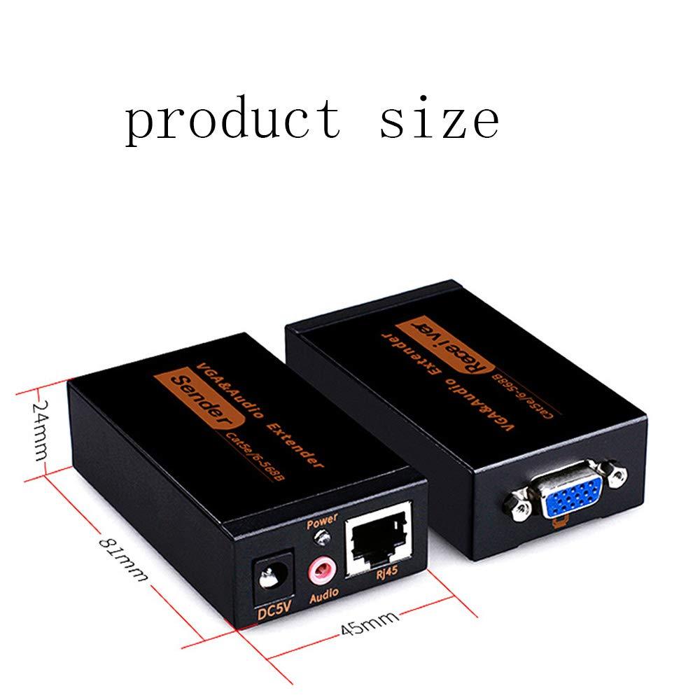 VGA Extender Repeater Over cat5e//6 Cable VGA Over Ethernet Jaremite VGA Video Extender Transmitter Receiver Over Cat5e Cat6 Ethernet Cable up to 60M 328ft//100m 100m
