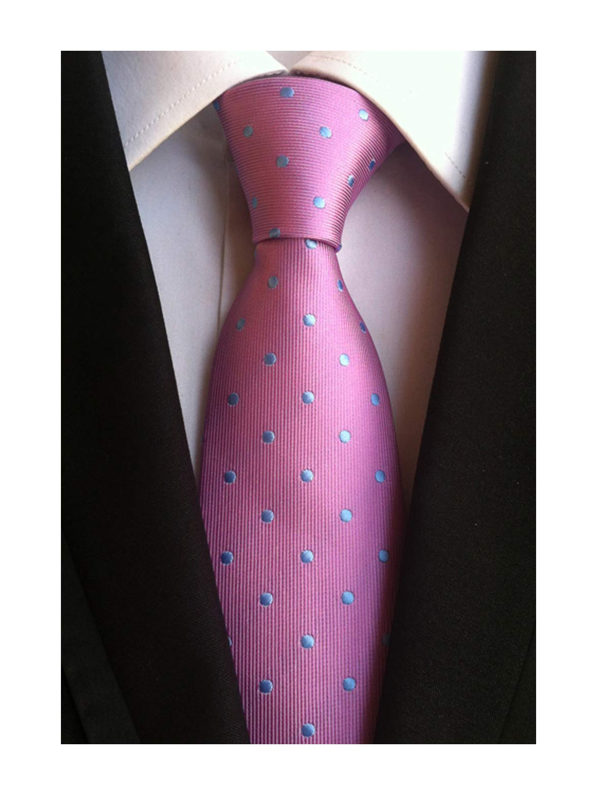 Mens Pink Silk Cravat Woven Elegant Neck Tie with Blue Polka Dot for Father Gift