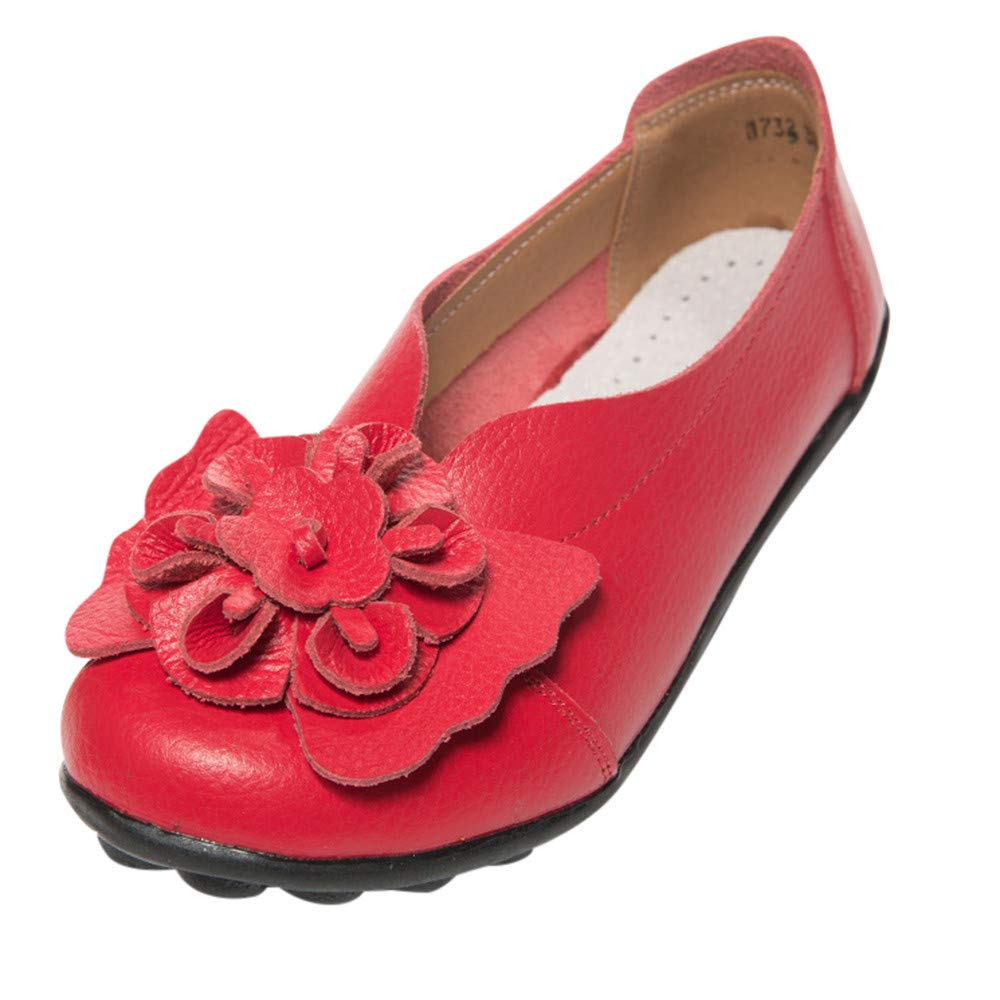 Naladoo New Women Round Head Flowers Peas Sandals Leather Ankle Flat Soft Shoes Naladoo Shop