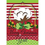 Magnolia Garden Merry Christmas Y'all Southern Cotton Quatrefoil 30 x 44 Large House Flag