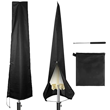 c87b72f9ebed Owlike Umbrella Covers Waterproof Parasol Patio Umbrella Covers with Zipper  and Telescopic Rod for 7ft to 11 ft Outdoor Umbrellas,Black 420D Oxford ...