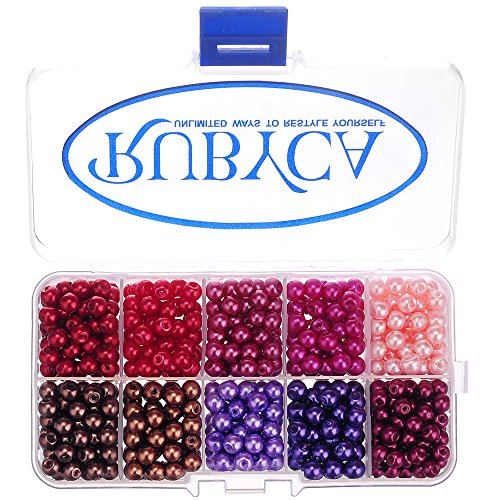 RUBYCA Czech Satin Luster Glass Pearl Round Beads for Jewelry Making, 6mm, Mix Colors, Organizer Box