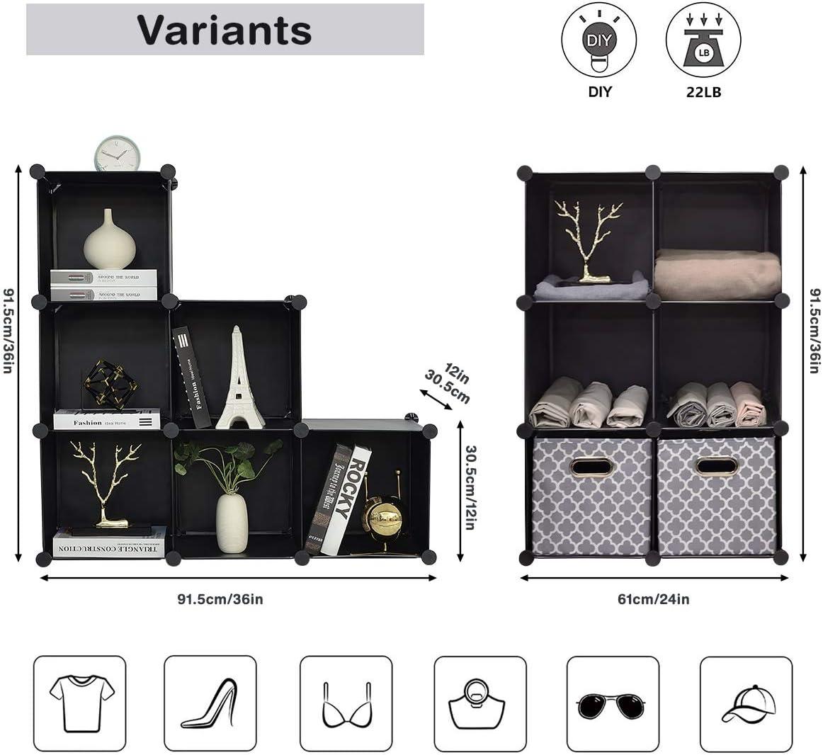 BRIAN /& DANY Estanteria Modular de 6 Cubos 93 x 93 x 31 cm Ropa y Libros Separadores Ambientes Estanteria para Juguetes Negro