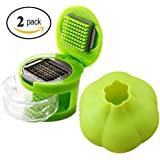 Coralpearl Kitchen Aid Stainless Steel Ginger Garlic Press And Cutter Mincer Chopper Crusher Slicer Peeler Grater Twister Dicer Green Tool Set