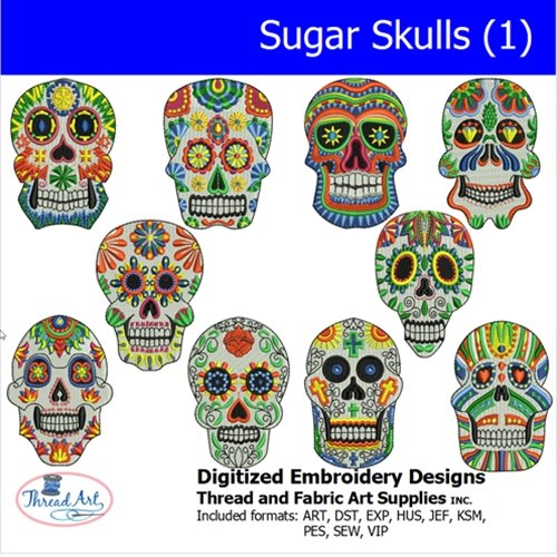 (Threadart Machine Embroidery Designs -Sugar Skull(1) - USB Stick)