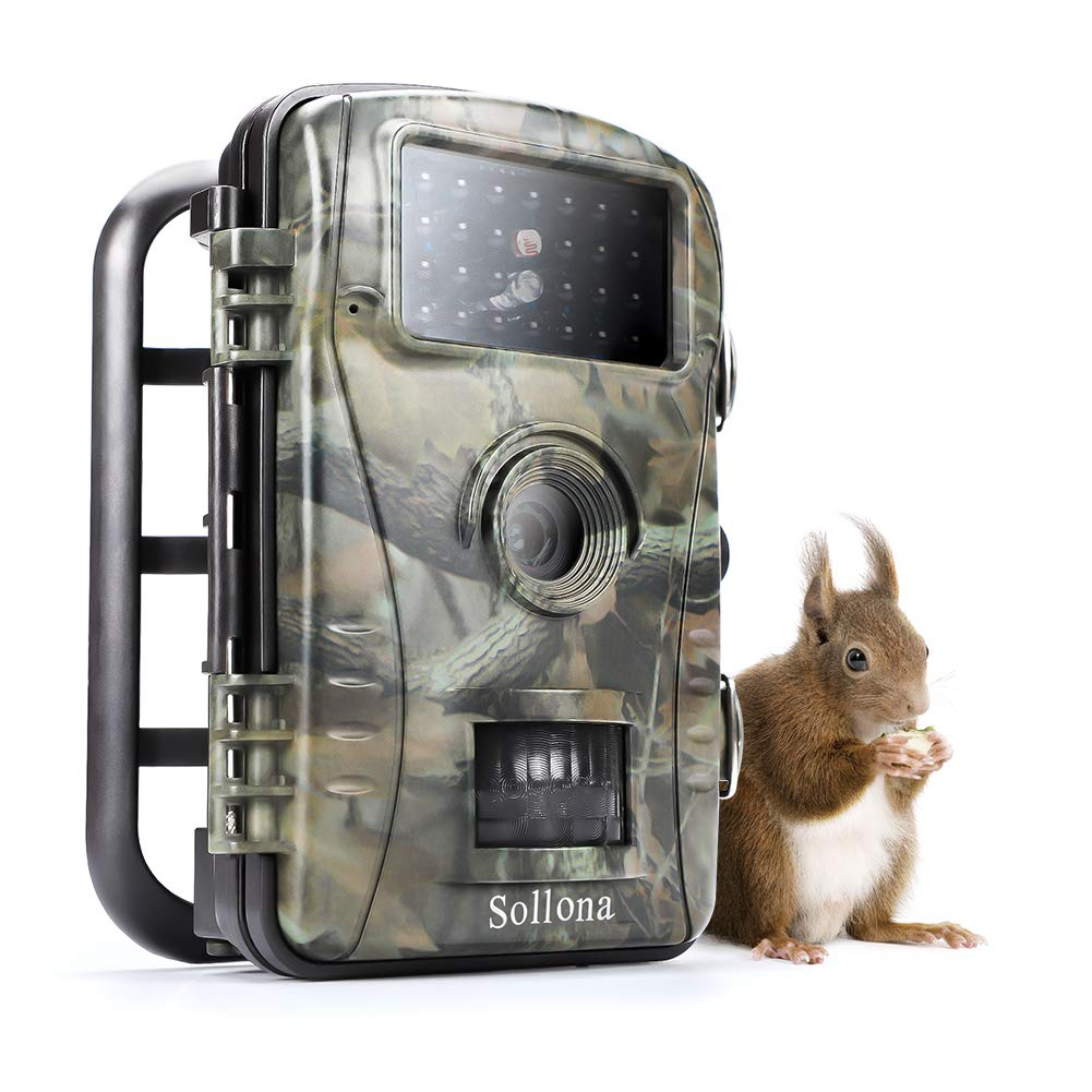 Sollona Cámara de Caza 20MP 1080P HD 940nm IR LED Trail Cámara de juego para nítido tiro nocturno y visión IP66 de diseño impermeable para Exterior Naturaleza Jardín Hogar Seguridad Caza-Negro.