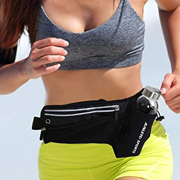 927c65342977 LeQeZe Running Belt with Water Bottle Holder Fitness Waterproof Bum Bag  Waist Pack