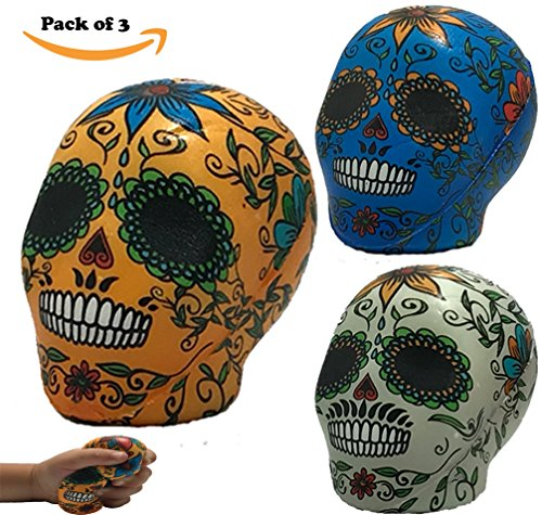 Squishies Day The Dead Sugar Skulls | Pack of 3 Large Slow Rising Dough Squishy | Jumbo Cream Scented Brilliant Colors | Celebrate Dios De Los Muertos | Great Cheap -