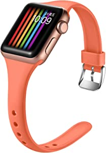 Easuny Slim Band Compatible with Apple Watch Series 5 40mm Women iWatch Series 6 Series 4 40mm, Replacement Strap for iWatch Series 3/2/1 38mm,Soft Narrow Watch Wrist Bands Accessory, S/M Coral
