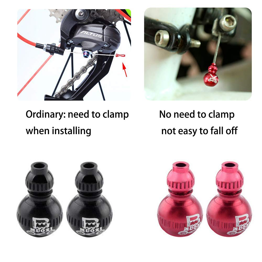 Saiper 4pcs Cucurbit Aluminum Alloy Bike Brake Cable Caps Gear Wire End Tips Crimps for Road Bike and Mountain Bicycle