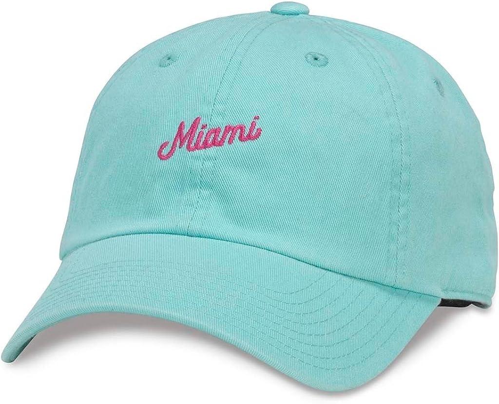 American Needle Board Shorts Casual Baseball Dad Hat Miami 43300A-MIAM Seafoam Green