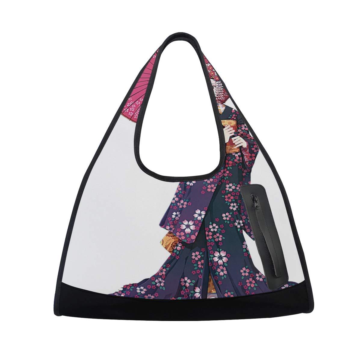 Japanese Kimono Girl Women Sports Gym Totes Bag Multi-Function Nylon Travel Shoulder Bag