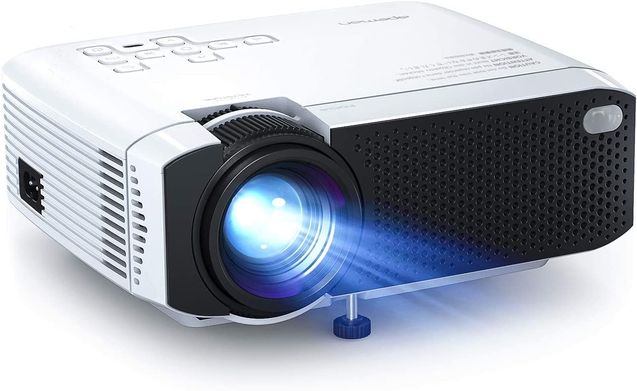 """Mini Projector, APEMAN 4500L Brightness Projector, Support 1080P 180"""" Display, Portable Movie Projector, 45,000Hrs LED Life and Compatible with TV Stick, PS4, HDMI, TF, AV, USB for Home Entertainment: Camera & Photo"""