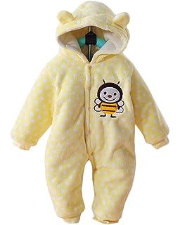 Minetom Unisex Bebés Recién Nacido Grueso Terciopelo Coral Mameluco Invierno Pelele Pijamas Niños Niñas Monos Caricatura