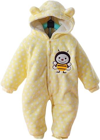 Minetom Unisex Bebés Recién Nacido Grueso Terciopelo Coral Mameluco Invierno Pelele Pijamas Niños Niñas Monos Caricatura Trajes Vaca