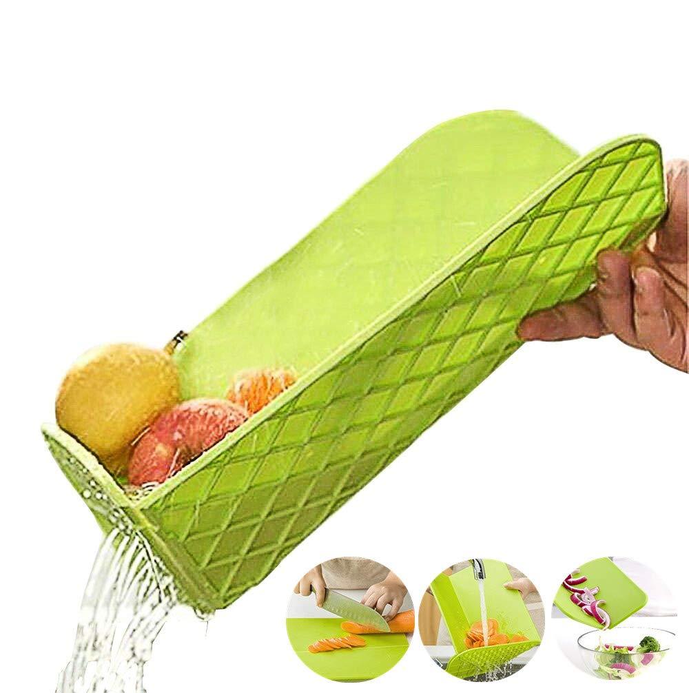 lavabile in lavastoviglie Tagliere multifunzionale pieghevole con setaccio integrato e vassoio antigoccia antibatterico in plastica scolapiatti pieghevole per frutta e verdura