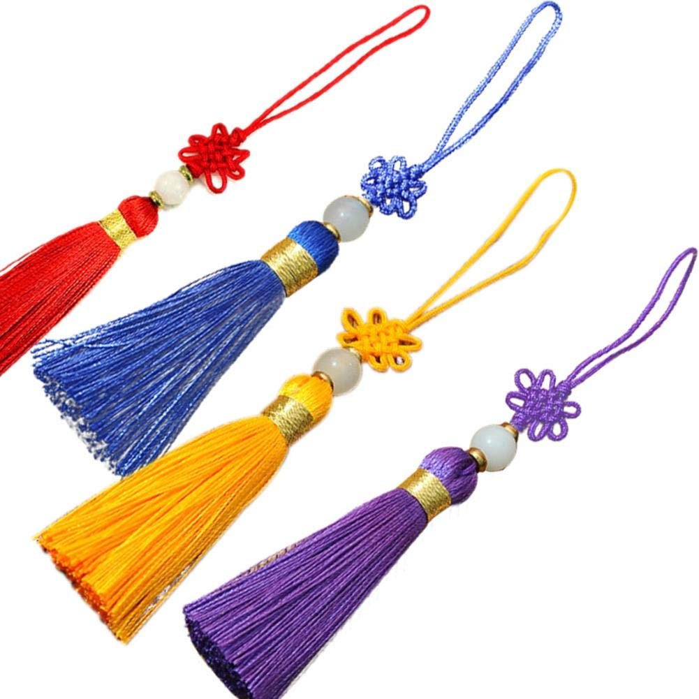 5 Inches Handmade Silky Floss Chinese Knot Tassel with Gold Satin Silk 4PCS Chinese Good Luck Knot and Peace Buckle Tassel Pendant Gift for Home and Car Handing Decoration Bookmarks Lanyards