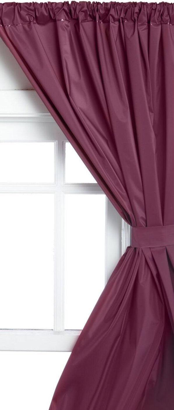 Royal Bath 5 Gauge Vinyl Window Curtains With Two Panels And Two Tie Backs In Burgundy, Size 36 Wide X 45 Long