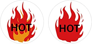 Fluorescent Red Hot Stickers - 1.5 Inch Flame Stickers Hot Labels - HOT Imprint Flame Labels 500/Roll (Red)